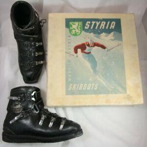 Boxed Vintage Styria Ski Master 5 Buckle Ski Boots Circa 1960 Adjustable Fit