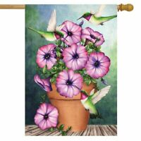 "Potted Petunias Spring House Flag Hummingbirds Floral 28"" x 40"" Briarwood Lane"