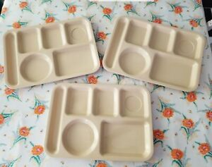 (3pc) Vintage SiLite School Cafeteria Lunch Divided Trays