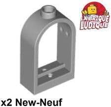 Lego - 2x window fenêtre 1x2x2 2/3 rounded top arch gris/light b gray 30044 NEUF