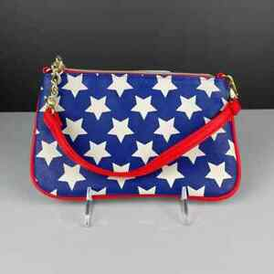 Betsey Johnson Small Handbag Blue & Red W/White Stars Floral Lining