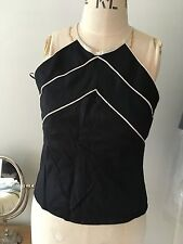 wallis 8 petite black sleeveless top linen with white strips fitted waist length