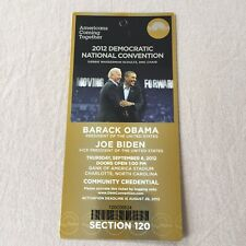 Barack Obama Joe Biden Gold DNC Ticket Credential