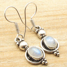 Retro Fashion @ $0.99 Only !!! 925 Silver Plated Blue RAINBOW MOONSTONE Earrings