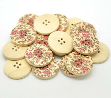 30 Multicolor Flower Pattern 4 Holes Wood Sewing Buttons 3cm B15476