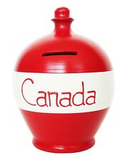 Terramundi Money Pot Red & White Stripes With Canada In Red Saving Holiday Gift