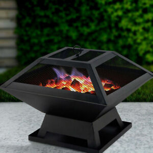 SQUARE FIRE PIT BBQ GRILL HEATER OUTDOOR GARDEN FIREPIT BRAZIER PATIO OUTSIDE