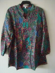 Womens Peter Hahn 3/4 Sleeve Blouse Shirt Tunic Top Paisley UK 24 Cotton Silk