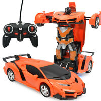 Transformable Car Robot Electronic Remote Control Vehicles for Kids - Orange