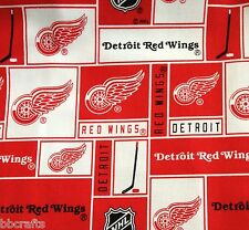 NHL HOCKEY DETROIT RED WINGS 100% COTTON PW FABRIC MATERIAL BY 1/2 YARD CRAFTS