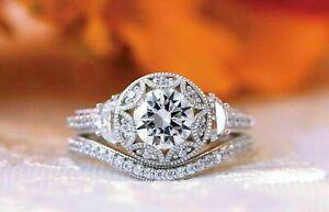 Tredy Milgrain Bridal Set Engagement Wedding Ring 1.42 Ct Diamond 14K White Gold