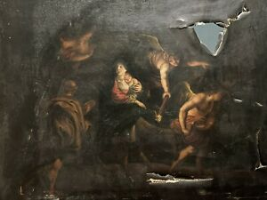 FINE 18th CENTURY ITALIAN OLD MASTER OIL PAINTING - THE NATIVITY - TO RESTORE