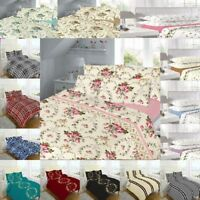 Flannelette 100% Cotton Printed Bed Sheets Set SINGLE,DOUBLE,KING NZ