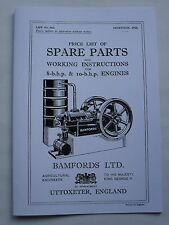Bamfords Price List of Spare Parts & Instructions for 8 & 10HP Engines