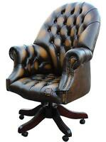 Chesterfield Directors Swivel Office Chair Antique Gold Leather