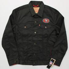 NFL San Francisco 49ers Levis Black Twill Denim Trucker Jacket Mens NWT Limited