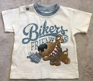 IKSS OH Boys size 0 T-Shirt EUC Bikers Friends Dog Print. 10 Items = $5 Post
