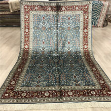 YILONG 4'x6' Top Silk Hand Knotted Carpets Traditional Floral Handmade Rugs 048B
