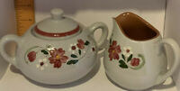 Vintage Stangl Pottery 1959 Retired Garland Pattern Creamer and Sugar Bowl