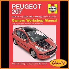4787 Haynes Peugeot 207 Benzina & Diesel (2006-LUGLIO 2009) Manuale Officina