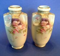 2 Matching Vintage Vases - Japan - Hand Painted Pink Poppies - Green Art Nouveau