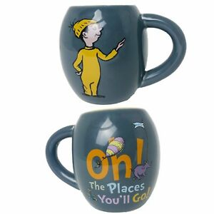 Dr SEUSS Gray Mug OH THE PLACES YOU'LL GO! 22 oz Oval Ceramic Coffee Cup School