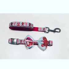 Christmas Dog Collar With Bow Tie & Leash Gingerbread Man