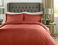 Rust Orange Hotel Quality Duvet Cover Set Satin Check 400TC 100% Cotton Single