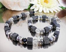 WUNDERSCHÖNES LAVA Würfel Collier kombiniert mit facettierten GLAS Perlen