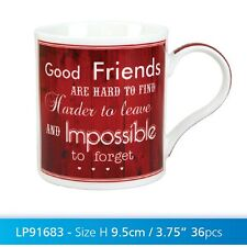 "Red White "" Good Friends Hard To Find "" Fine China Novelty  Mug"