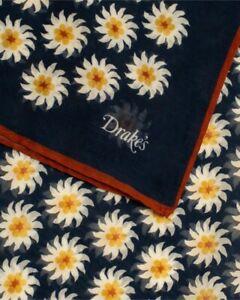 Drake's London Daisy Scarf NAVY Blue w/ Red Luxury Print Silk Cotton Blend NEW