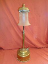 Rare Vintage Tall Brass Pork Pie Tilley table Lamp With Etched Shade