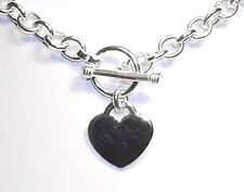 "Heart Charm Toggle Solid Sterling Silver Link Necklace 16""  (44 grams)"
