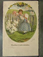 cpa illustrateur signée pauli ebner enfants romantique fleurs