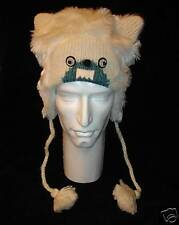 ADULT YETI KNIT HAT abominable costume ANIMAL ears CAP fleece lined toque beanie
