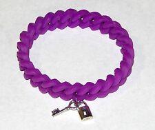 Lock & Heart Key Neon Purple Silicon Link Bracelet Ships from USA Free Ship!