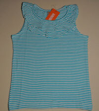 Gymboree girl size M 7 - 8 NWT striped tank top turquoise 100% cotton ruffles