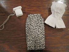 Vintage Barbie Pak white Playsuit, Black and white floral skirt and telephone