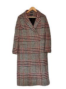 Baukjen, Checked Overcoat With Wool, In Pinks, UK 10, EU 36