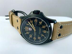 Luminox 1920 Atacama Field Day Date Black Beige Leather Quartz Watch New Others