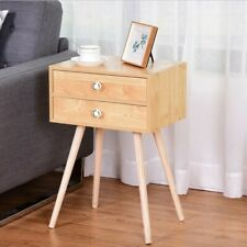 Mid Century Modern 2 Drawers Wood Beige Nightstand Home Decor
