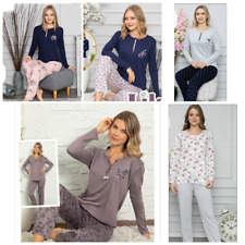 Damen Pyjama Schlafanzug Lang 2-Teiler Set L-74
