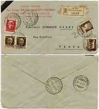 ITALIA 1931 COVER registrate in Francia, In perfatta condizione ROMA TORINO TPO