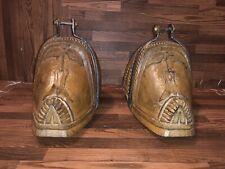 Vtg Antique Chilean Huaso Cowboy Gaucho Carved Wooden Stirrups Circa 1800s