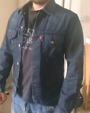 Original Levis Men's Denim Jacket Jean Jacket Indigo Blue Size M