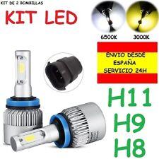 Kit LED H8 H9 H11 Carretera coche moto camion bombilla cruce larga 6500K o 3000K