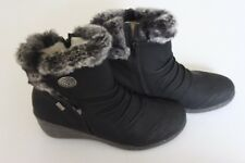 Black Rieker Mombasa Button Detail Ankle Boots with Faux Fur Trim  6.5  (40) new