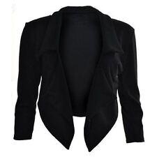New Womens Ladies Celeb Style 3/4 Sleeve Crop Waterfall Short Blazer Jacket 8-24