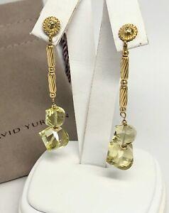 David Yurman 18K Yellow Gold 750 Long Dangle Drop Earrings Lemon Citrine Beads