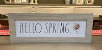 """Rae Dunn - HELLO SPRING - Standup Wooden Sign - 14""""L x 5""""H - Easter / Spring"""
